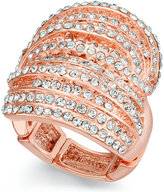 INC International Concepts Rose Gold-Tone Crystal Criss Cross Adjustable Ring, Only at Macy's