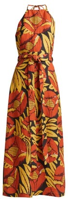 Raey Split-skirt Floral-chintz Halterneck Dress - Womens - Orange Multi