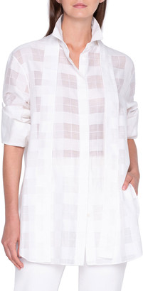 Akris Oversized Sheer Plaid Shirt