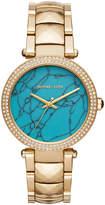 MICHAEL Michael Kors 39mm Parker Glitz Bracelet Watch, Gold/Turquoise