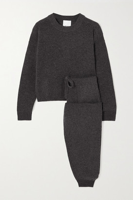 Allude Wool And Cashmere-blend Sweater And Track Pants Set - Gray
