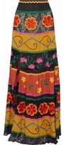 Alice + Olivia Lace-Paneled Twill Embroidered Maxi Skirt