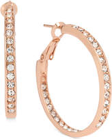 Hint of Gold Crystal Inside Out Hoop Earrings in 14k Rose Gold-Plated Metal