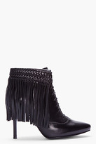 Balmain PIERRE black leather Fringed Ankle Boot
