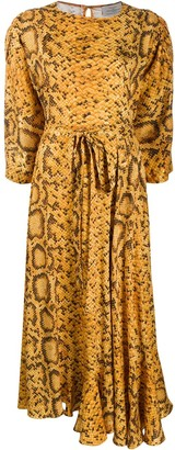 Preen by Thornton Bregazzi Snakeskin-Print Midi Dress