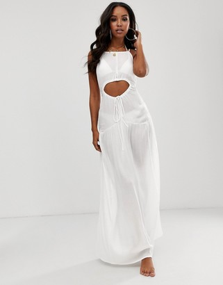 Asos DESIGN beach maxi dress in crinkle with strappy waist detail