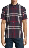 Burberry Linen-Blend Exploded Check Short-Sleeve Shirt, Navy