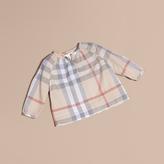 Burberry Pleat Detail Check Cotton Top