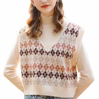 Treer Shop Women Elegant Beige Vest Streetwear Sweater Sleeveless Plaid Knitted Vest