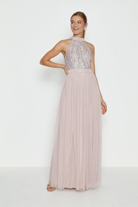 Coast Sequin Bodice Halter Maxi Dress