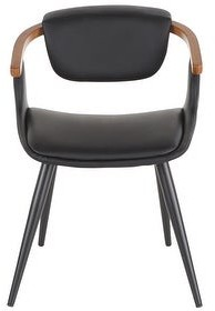 Lumisource Oracle Mid-Century Modern Dining Chair in Faux Leather, Black Metal, & Walnut Wood - N/A