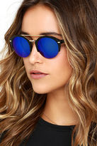 LuLu*s Radical Babe Black and Blue Mirrored Sunglasses