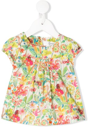 Bonpoint Floral-Print Smocked Top