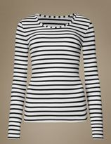 Marks and Spencer Brushed HeatgenTM Thermal Striped Long Sleeve Top
