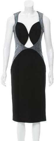 Cushnie et Ochs Leather-Accented Midi Dress w/ Tags