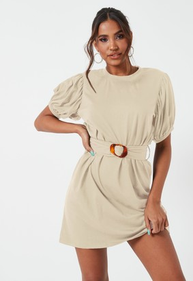 Missguided Sand Tortoise Shell Belted Puff Sleeve Mini Dress