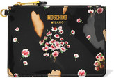 Moschino Printed Patent-leather Pouch - Black