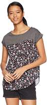 Jolt Women's Floral Print Knit To Woven Tee