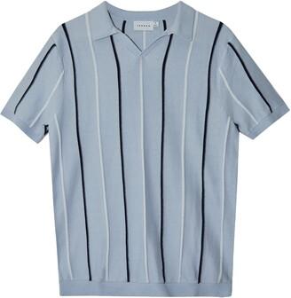 Topman Rib Stripe Johnny Collar Polo