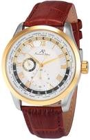 K&S KS Men's Analog Day,24-hour Display Automatic Mechanical Brown Leather Band Wrist Watch KS305