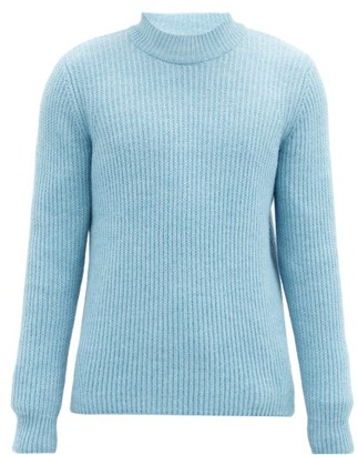 Séfr Leth Rib-knitted Crew-neck Sweater - Blue