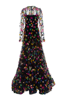 Christian Siriano Black Sheer Floral Appliqué Gown