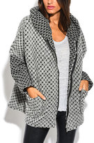 Gray Tweed Hooded Wool-Blend Swing Coat - Plus Too