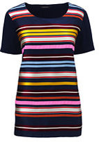 Classic Women's Petite Ribbon Front Top-Radiant Navy
