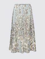 Classic Printed A-Line Midi Skirt