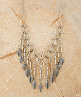 Nautilus Silvertone Geometric Feather Statement Necklace