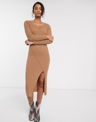 ASOS DESIGN knit rib midi dress with wrap detail