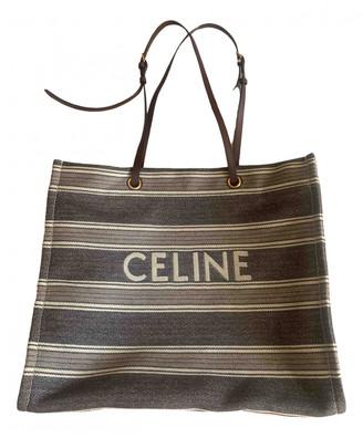 Celine Cabas Horizotal Beige Cotton Handbags
