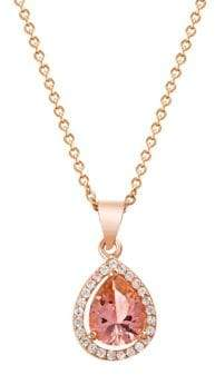Lord & Taylor Rose Goldplated Cubic Zirconia & Simulated Morganite Teardrop Halo Pendant Necklace