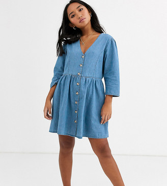 Asos DESIGN Petite soft denim tea dress in midwash blue