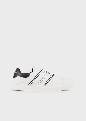 Emporio Armani Leather Sneakers With Side Logo