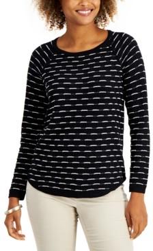 Karen Scott Petite Box-Stitch Curved-Hem Sweater, Created for Macy's