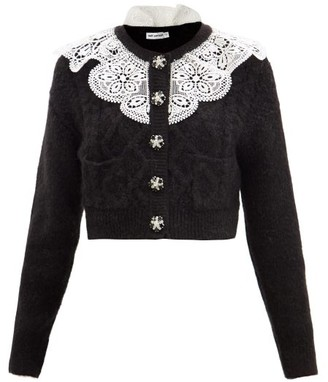 Self-Portrait Lace-collar Cropped Cable-knit Cardigan - Black