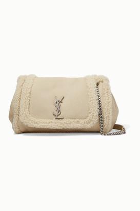 Saint Laurent Nolita Medium Textured-leather And Shearling Shoulder Bag - Cream