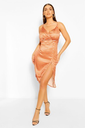 boohoo Boutique Satin Polka Dot Wrap Slip Dress