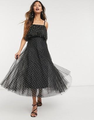Forever U organza ruffle midi dress with gold spots in black