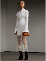 Burberry Embroidered Tulle and Cotton Shirt Dress