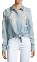 Blank NYC BLANKNYC Embroidered Chambray Top