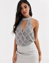 Asos Design DESIGN halter neck wrap embellished body in silver