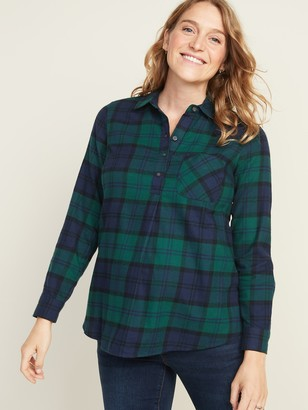Old Navy Maternity Plaid Flannel Popover Shirt