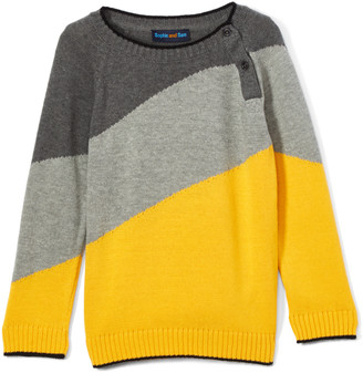 Sophie & Sam Boys' Pullover Sweaters Yellow - Yellow & Gray Diagonal Color Block Sweater - Toddler & Boys