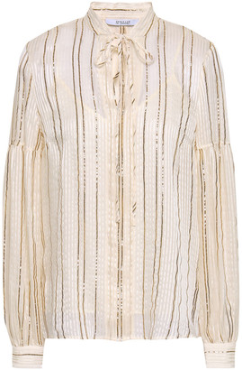 Derek Lam 10 Crosby Metallic Silk-blend Jacquard Blouse
