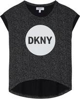 DKNY Logo hi-low hem cotton T-shirt 6-16 years