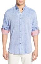 Stone Rose Trim Fit Long Sleeve Linen Sport Shirt