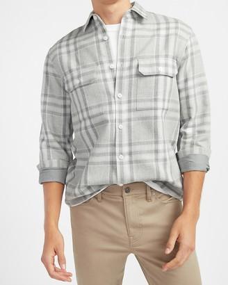 Express Slim Plaid Heavy Flannel Shirt Jacket