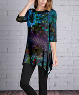 Lily Green & Purple Mosaic Sidetail Tunic - Plus Too